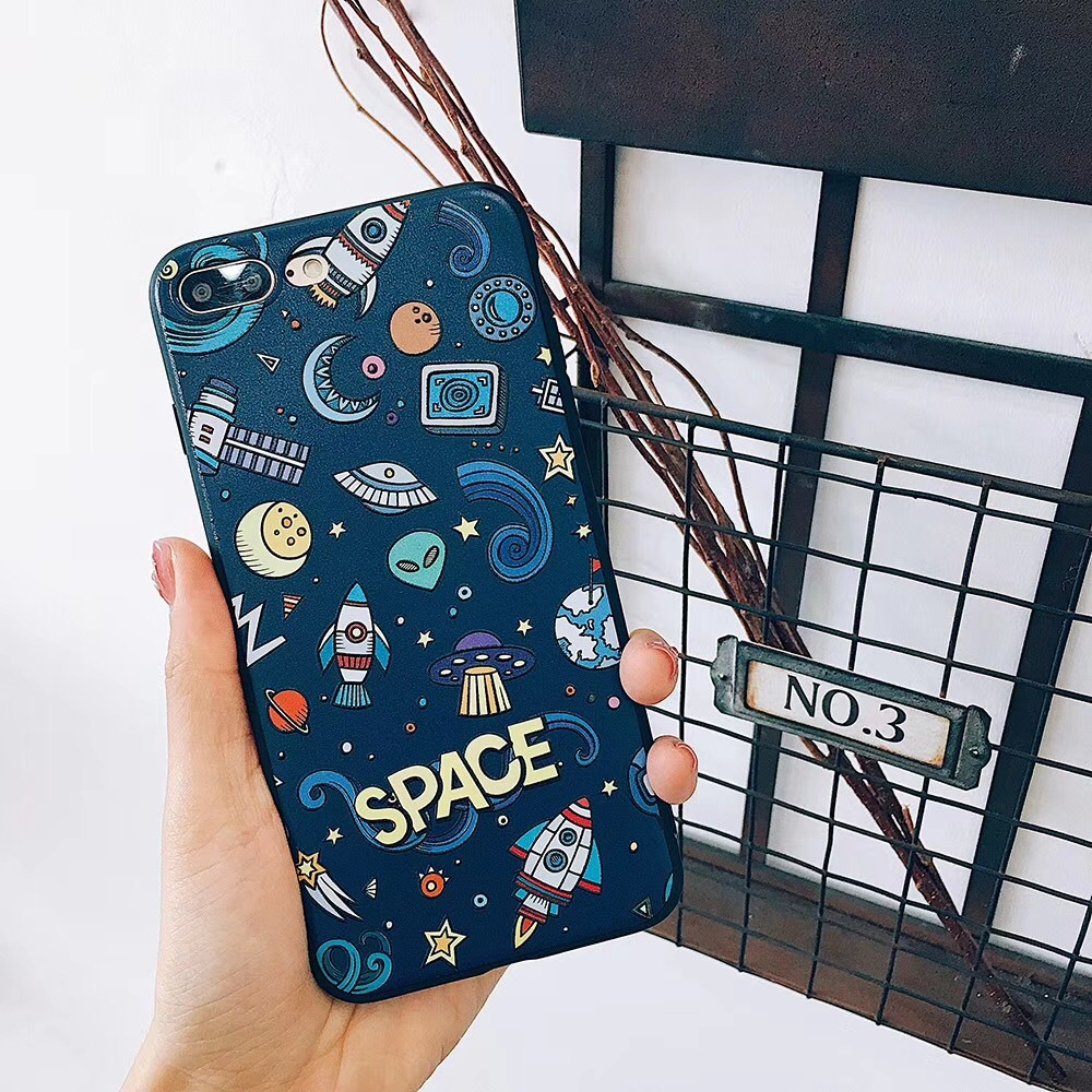 Emboss Space Stars Pattern TPU Phone Case for iPhone 8 7 Plus