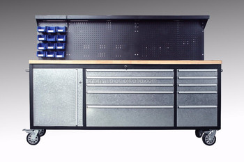 Work Garage Metal Bench Storage Cabinet Tool Trolley Cart With Handle And