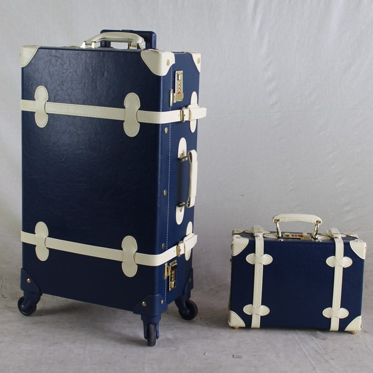Old Fashion Trolley Bule Pink Vintage Luggage Suitcase