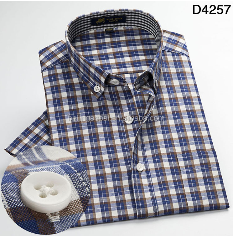 Support custom fashion100% cotton casual men check half sleeve shirts фото