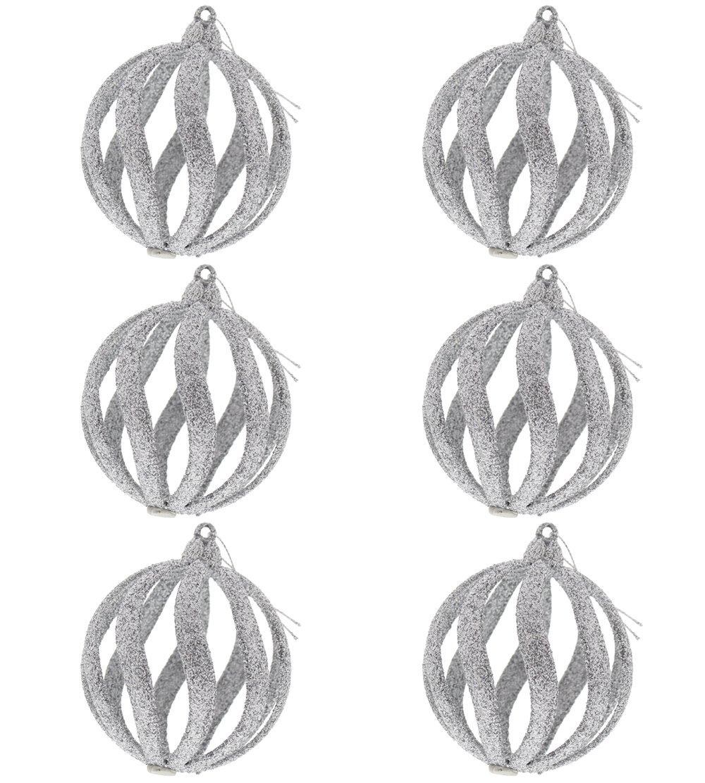 "Fancy Elegant Christmas Holiday Spiral Shimmering Sparkling Round Glitter Ornaments, Silver, Medium, Pack of 6, 4"" x 3"""