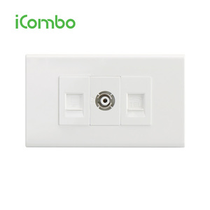 Thailand PC White Color Plate Hdmi Wall Socket With Telephone Socket