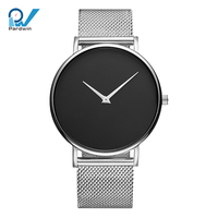 Simple design watch two hands japan miyota movement ultra slim mesh stainless steel band interchangeable