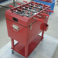 Foosball table cooler with wheels pushcart cooler box