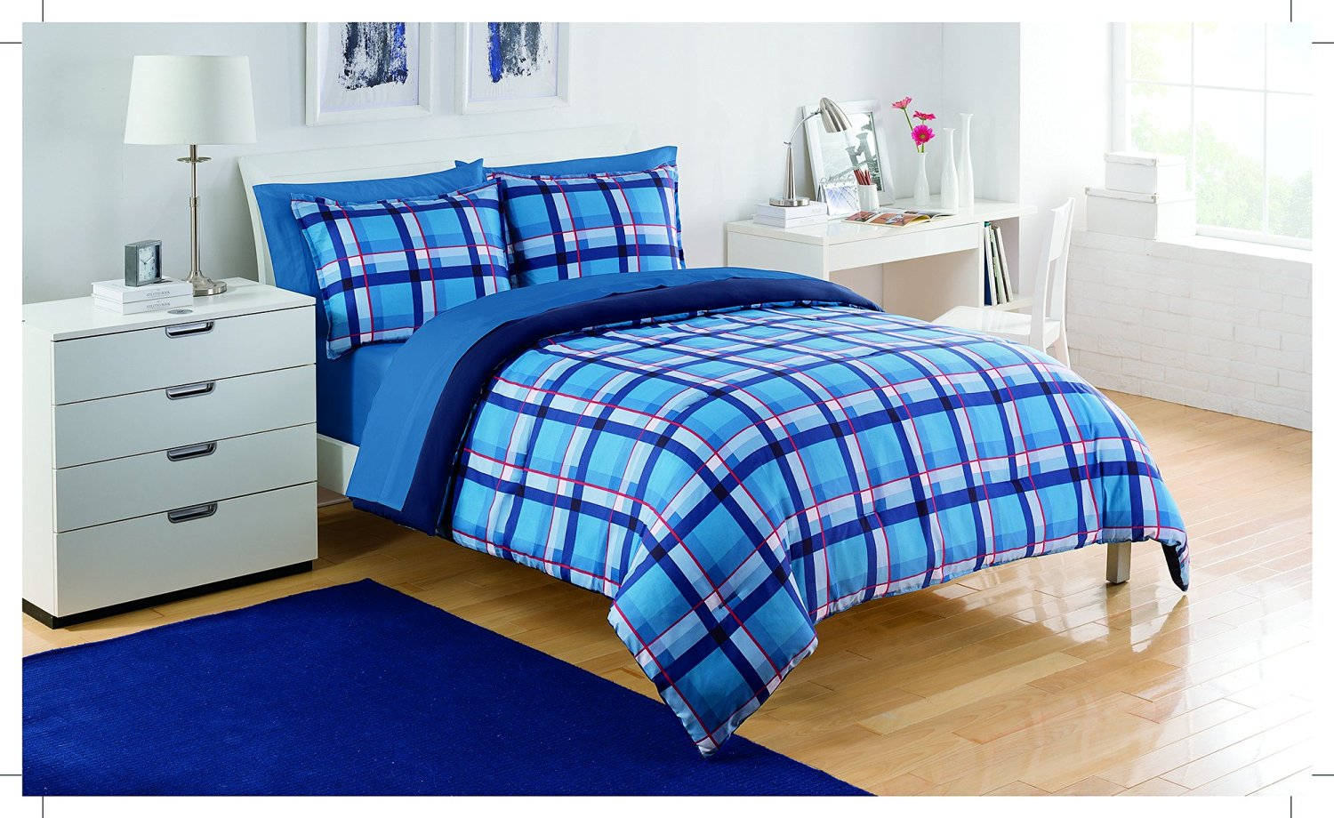 comforter tag twin sanalee plaid green sets blue xl info