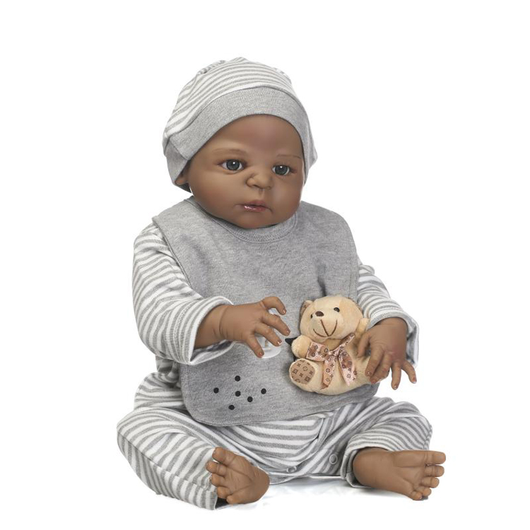 wholesale cheap eco friendly kids toys silicone black reborn baby <strong>dolls</strong> for sale