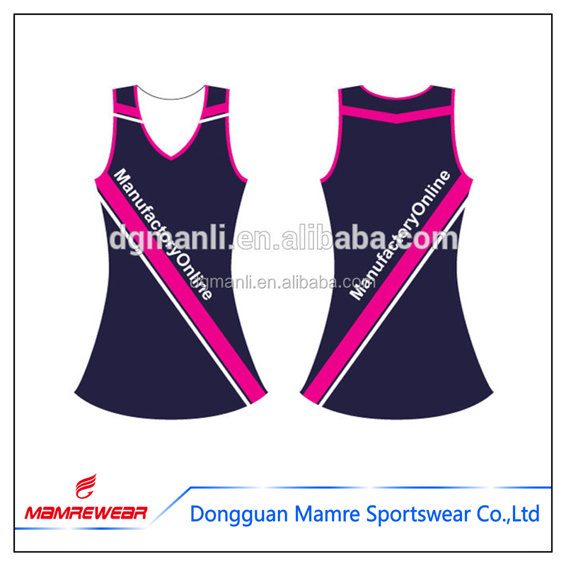 Girls sublimation netball dress, league sports netball tennis uniforms printing