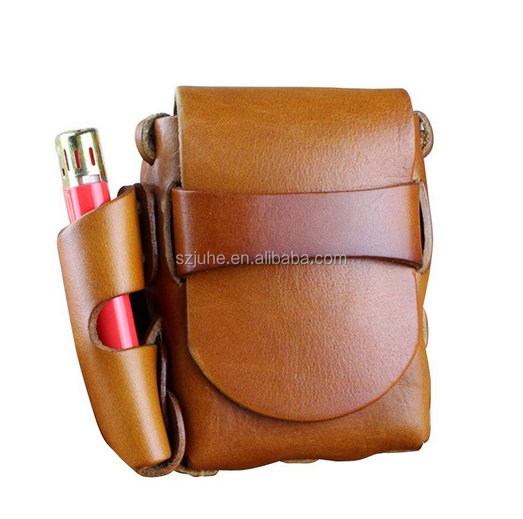 Custom luxury china genuine leather Cigarette case with lighter