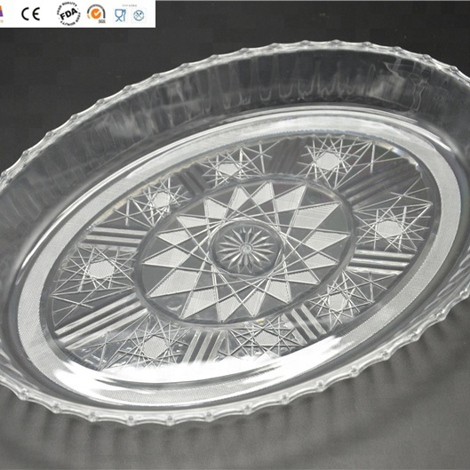 Clear Carved Plastic Oval Serving Tray