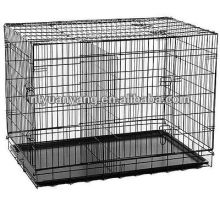 Folding metal wire dog cages with divider