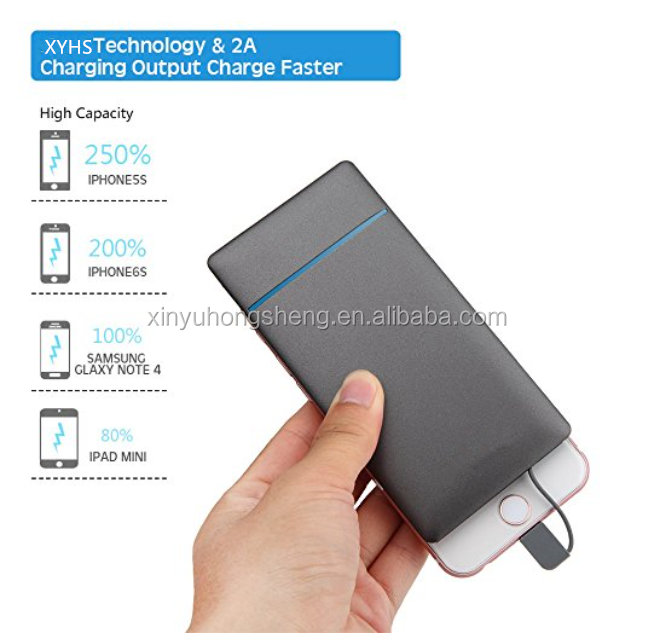 2018 New Arrival Power Bank Built-in Cable Portable Charger Dual USB Output 10000mAh for iPhone & Android Charging both