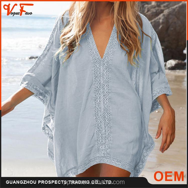 2016 Latest Fashion Design Sexy Half Sleeve Blue V-neck ...