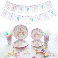 115pcs Unicorn Party Supplies Metallic Plates Straws Cups Cutlery Birthday Banner Unicorn Headband Birthday Favors For Kids