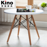 MDF eiffel cross leg round dining table coffee table with solid wood legs