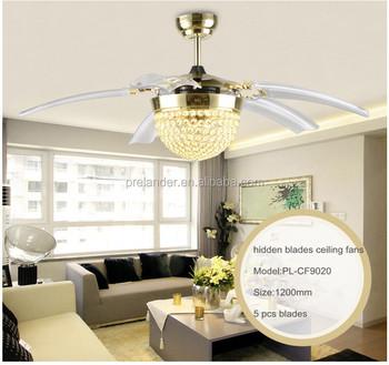 Gold Color Modern Decorative Lighting Transparent Crystal Ceiling Fan  Retractable Blade Ceiling Fan