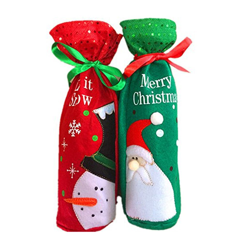 Christmas Red Wine Bottle Cover Bags Decoration Christmas Gift Bags Set Santa Snowman Table Decoration 2pcs