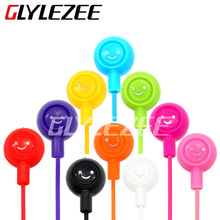 New 10 color Colorful Fruit Smiling Headphone Smile Cute 3.5mm Jack Face Headset in-ear smiley Earbuds for Phone Tablet MP3