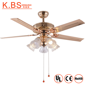 Luxury Design Dining Room Copper Motor Fan 5 Iron Blades Ceiling Light