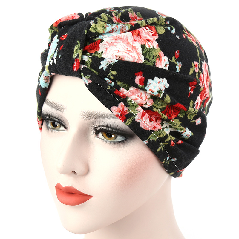 Ladies Girls Floral Indian Turban Hat Pleated Chemo Cancer Cap Sleep Headwear