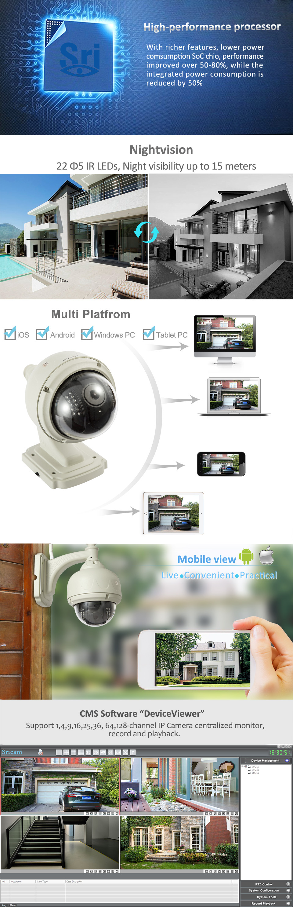 Sricam SP015 Smartphone network wireless p2p outdoor Camera waterproof ip camera outdoor security wireless alarm system