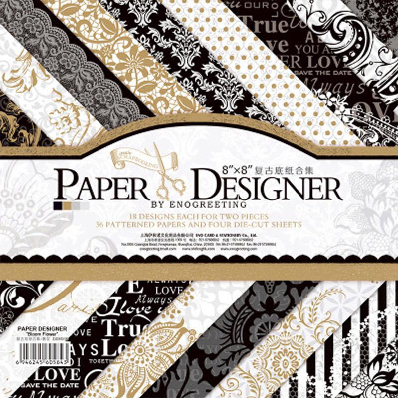36 hojaslote Vintage negro oro floral patrón creativo papel arte hecho a mano scrapbooking kit set de libros