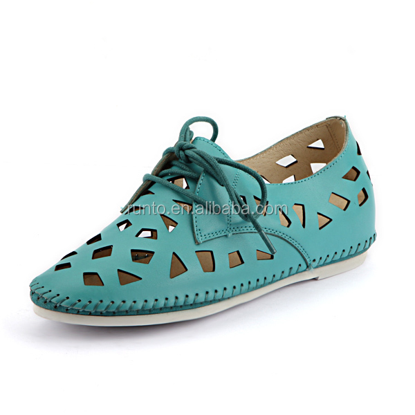 Newest Summer Fashion Shoes for Women/Blue Hollow-out Cow Leather Footwear/Girl Flat Comfortable Lace-up Casual Shoes