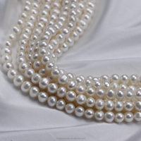 7mm AA zhuji cheap off round freshwater pearl beads strings for decorating