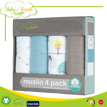 MS-25 printed organic 47x47 muslin swaddle swaddling blankets 4 pack
