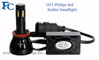 2016 newest type G6 high power 96W Philip.s led 4sides automotive H11 headlight
