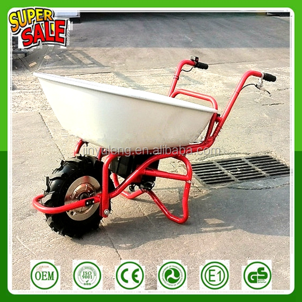 customize hot sale best quality 230W, 24V cheap heavy duty dump Electric trolley Battery Power Assist Wheelbarrow for sale work