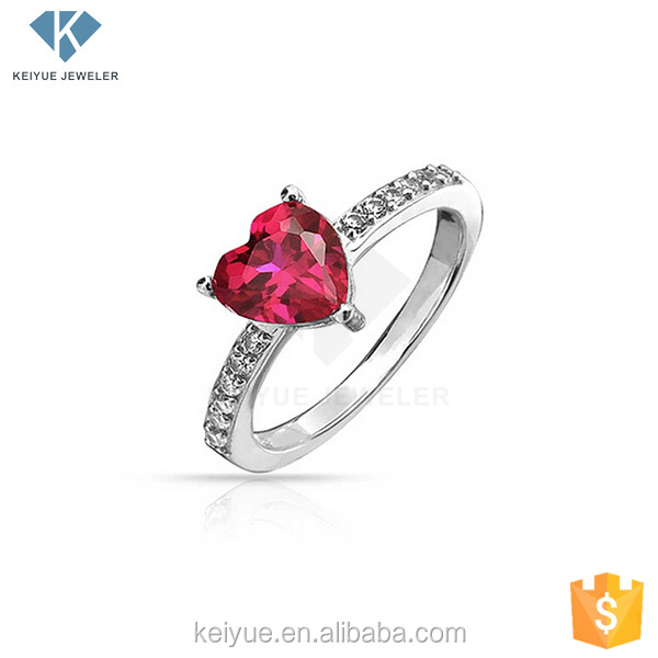 Good price heart shaped value 925 silver india nature red ruby stone ring