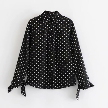 Office lady style design vintage black white polka dot shirt women long sleeve blouse with bow tie