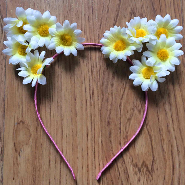 Hot Sell Cat Ears White Daisy Flower Hair Band