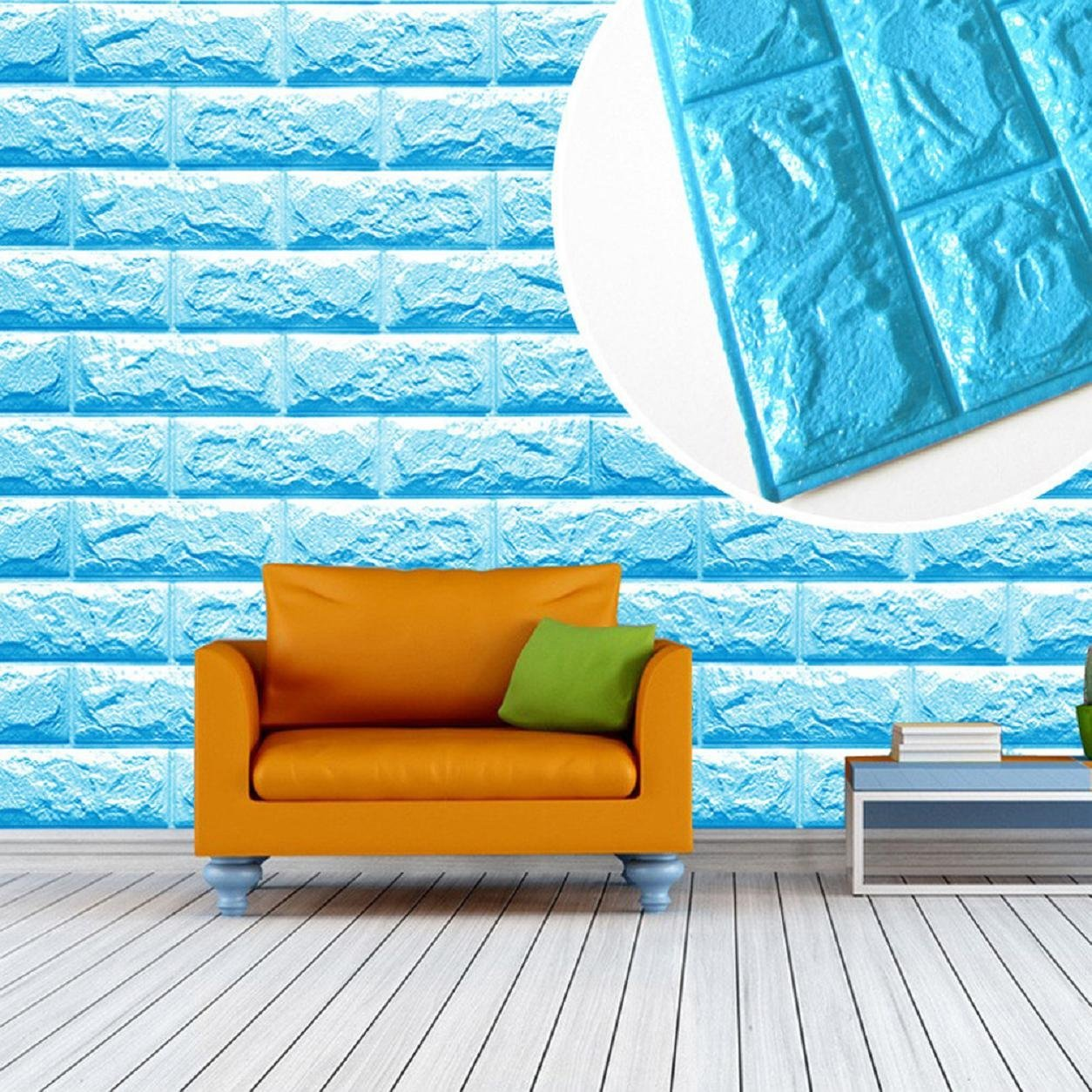 Get Quotations Kemilove PE Foam 3D Wallpaper DIY Wall Stickers Decor Embossed Brick Stone Blue