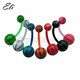 Acrylic stripe belly rings body piercing jewelry with basketball logo
