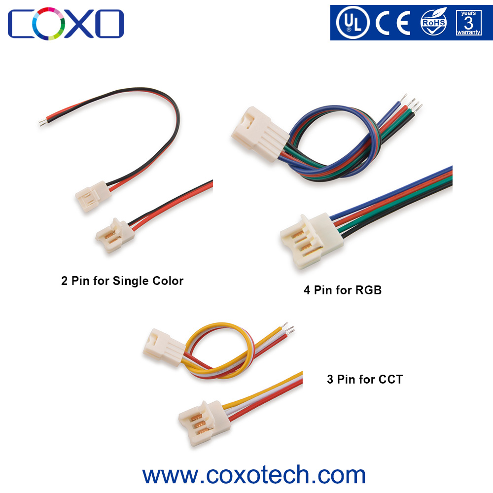 New 2 Pin Single Color / 3 Pin CCT / 4 Pin RGB Wire Led Light Strip Connector for SMD 5050 2835 3528