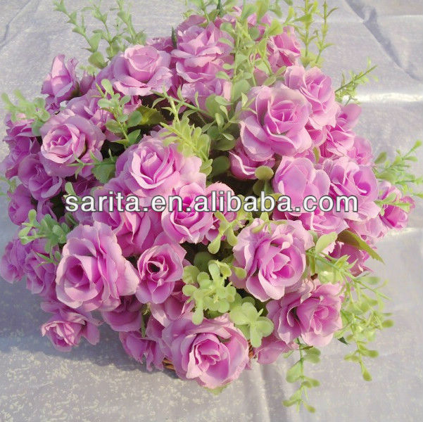 24 heads artificial coarse calico rose bunch