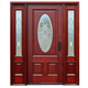 Rustic House Main Entrance Two Panels Solid Wooden Front Doors With Oval Glass