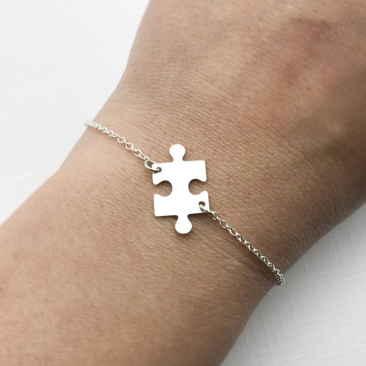 Lyb0054 Puzzle Piece Bracelet Sterling Silver Adjule Jigsaw Autism Awareness