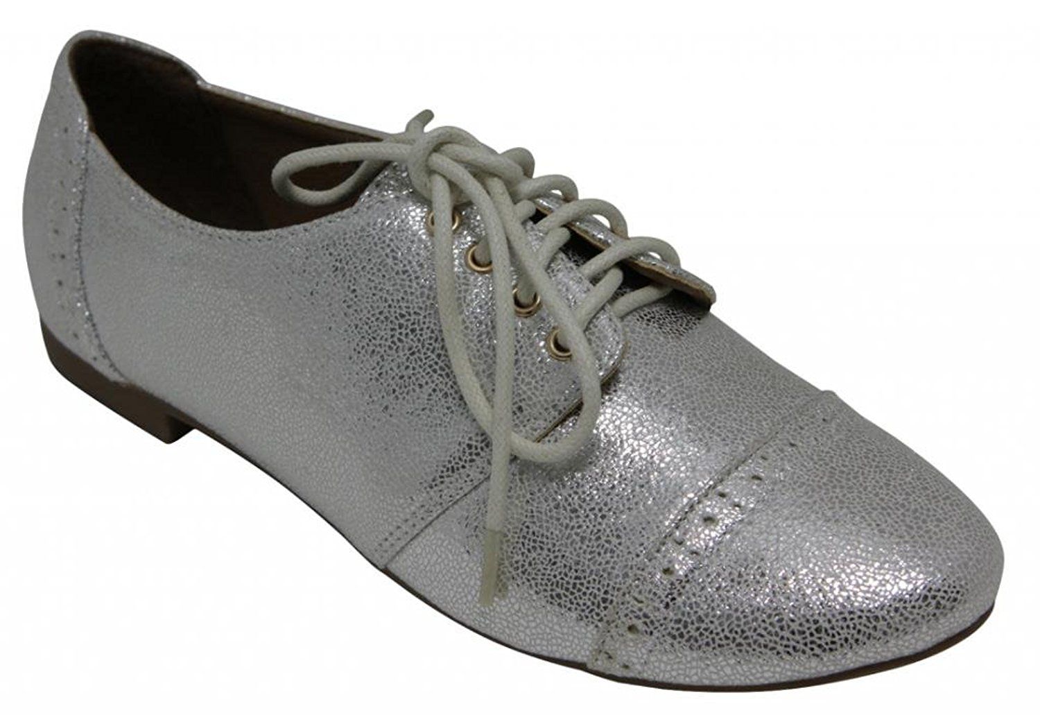 Anna Mandy-3 Women's dress Flat lace up metallic patent leather Pu loafers Oxfords shoes