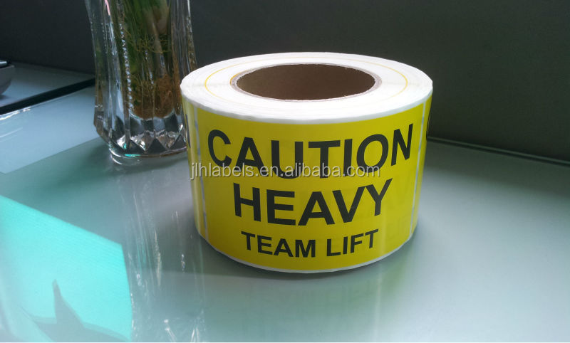 "CAUTION HEAVY Team lift label 3""x5""x500 labels/roll"
