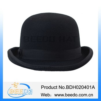 Fashion Wool Felt Black Round Top Hat For Men - Buy Black Round ... 65e14c9d039