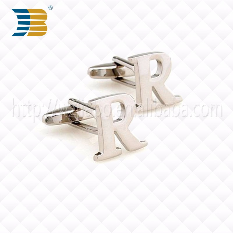 WenZhou JiaBo New custom fashion metal letter cufflink for men