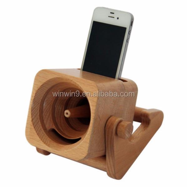 Bamboo Wood Speaker Amplifier Holder Mini Portable Speaker