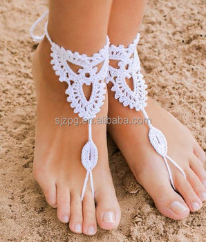 Seepferdchen Häkeln Barfuß Sandalen Fuß Schmuck Fußkettchen Riemen