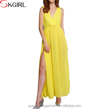 e32f5bb694a Most popular beautiful korean fashion sleeveless deep v neck split chiffon  long dress women summer