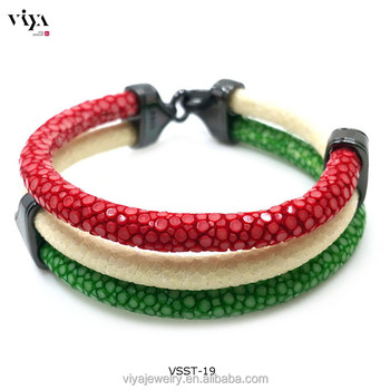 Luxury Three Strand Wred Stingray Leather Cords Bracelet Men