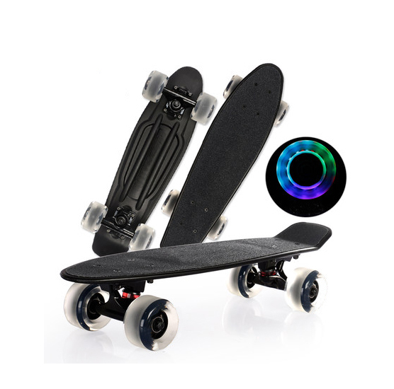 Wholesale 22inch plastic skateboard with griptape mini cruiser skateboard big wheels LED