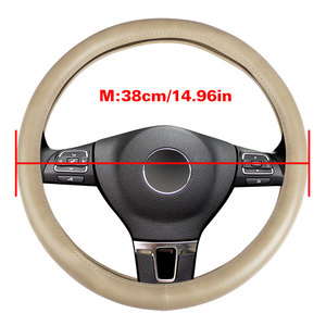 Fly 5D Anti Slip Black Leather Car Steering Wheel Cover For Car Decoration