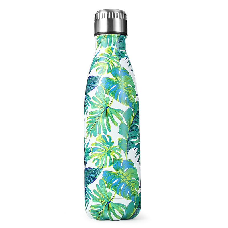17oz Cola Bottle Tumbler Flower Patterns Cup Tumbler Stainless Steel Double Wall Outdoor Travel Cola Bottle Tumbler
